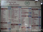 Maison Antoine menu