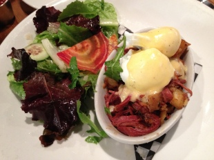 Slow Braised Corned Beef Hash with Poached Eggs and Hollandaise Sauce