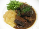 Vlaamse stoofkarbonaden / Carbonnades flamandes: a Flemish beef stew, similar to the French beef bourguignon, but made with beer instead of red wine.