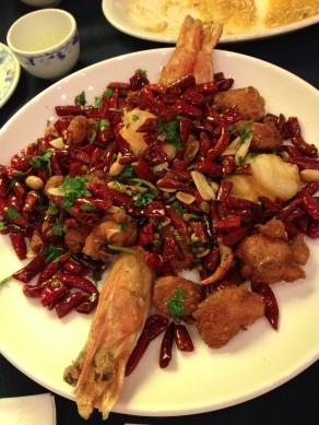 Chili Fried Prawn and Chicken