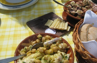 Cod fish salad with chickpeas and Queijo de Ovelha Curado de Borba (sheep cheese)