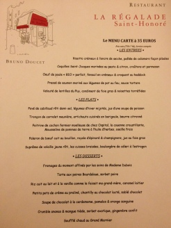 La Régalade Saint Honoré French menu