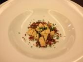 Velouté de lentille, condiment de foie gras & noisettes - Lentil soup with foie gras & toasted hazelnuts
