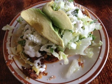 Tostada with tinga (chipotle chicken)